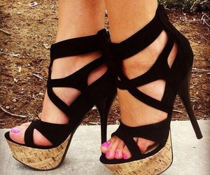 black, cute shoes, and heels image