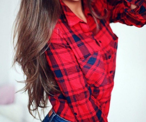 fashion, red, and brunette image