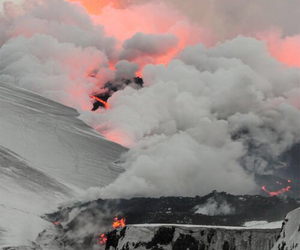 smoke, volcano, and lava image