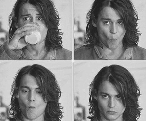 johnny depp, young, and black and white image