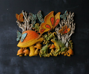 butterflies, wall hanging, and frog image