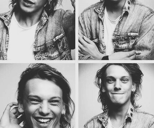 Jamie Campbell Bower, actor, and black and white image