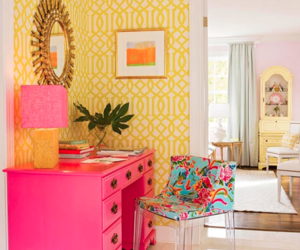 pink, room, and yellow image