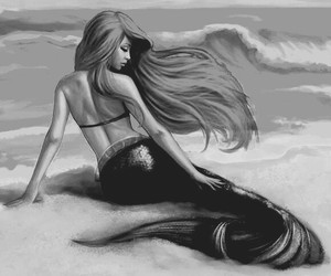 beauty, black and white, and mermaid image