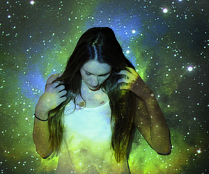 girl, space, and stars image