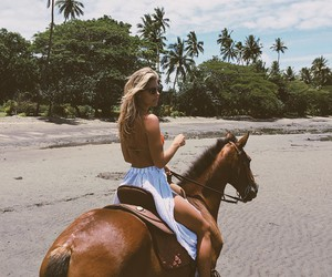 horse, girl, and summer image