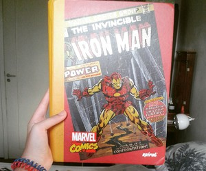 iron man, notebook, and red image