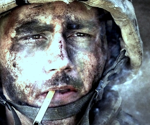 cigarette, soldier, and smoke image