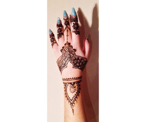 beautiful, blue, and henna image