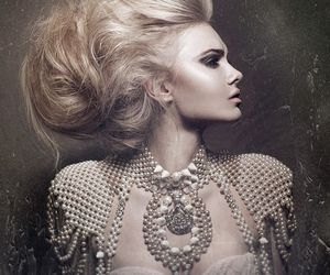 hair, pearls, and photography image