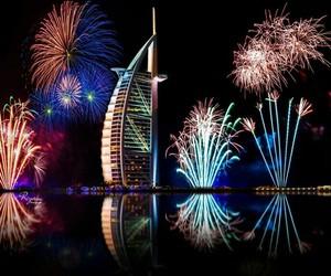 cities, Dubai, and fireworks image