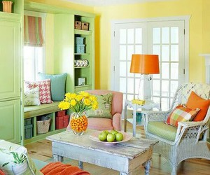 home, decor, and yellow image