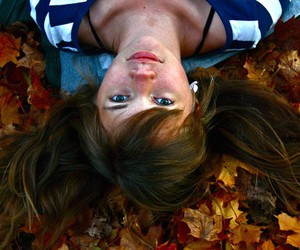 girl, leaves, and green eyes image