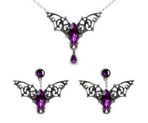 gothic necklace, gothic earing, and bat earings image