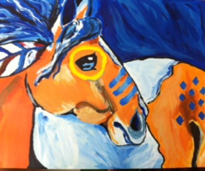 acrylic, art, and horse image