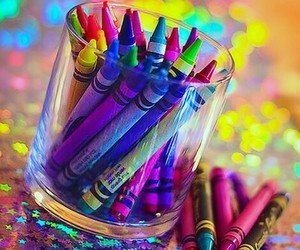 crayons and rainbow image