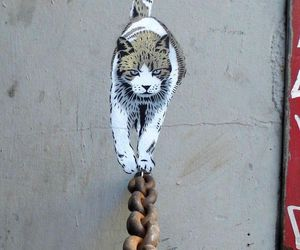 cat, art, and street art image