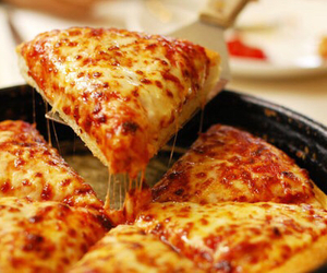 cheese, happy, and pizza image