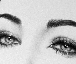 beautiful, eyes, and black and white image