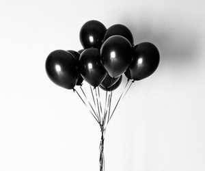 black, balloons, and white image