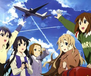 airplane, blue sky, and anime smile image