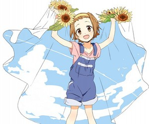 anime girl, sandals, and blue sky image