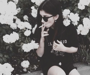 grunge, girl, and flowers image