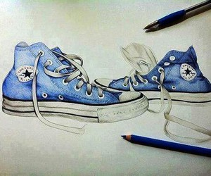 blue, converse, and drawing image