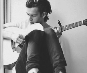 the 1975, matty healy, and guitar image