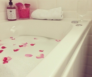 bath, relax, and rose petals image