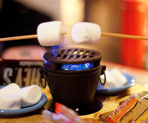 marshmallow, fire, and food image