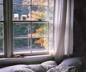 bed, window, and vintage image