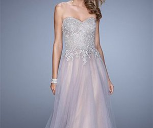 lace, formal prom dress, and long image
