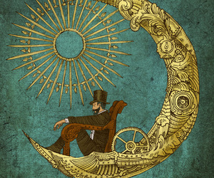 moon, art, and steampunk image