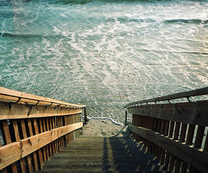 beach, sea, and stairs image