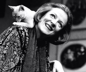 actress, black and white, and cat image