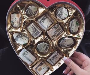 money, chocolate, and heart image
