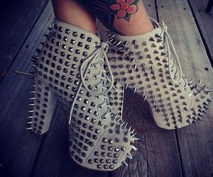 shoes, heels, and tattoo image