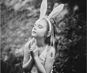 girl, bunny, and pray image