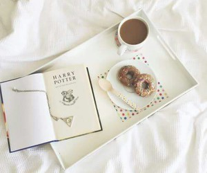 book, donuts, and harry potter image