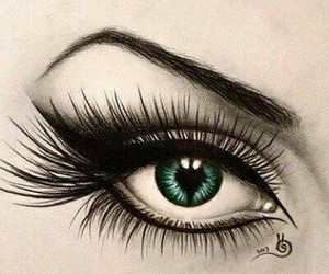 eye, art, and green image