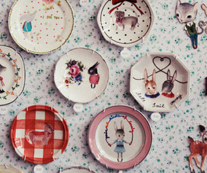 vintage, plate, and rabbit image