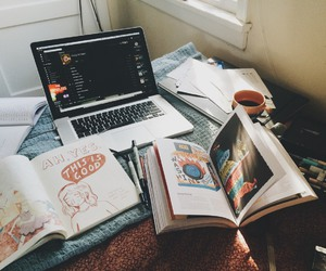 book, macbook, and study image