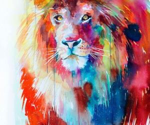 lion, art, and animal image