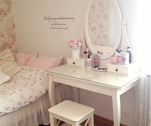 bedroom, pink, and bedroom decor image