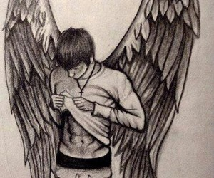 angel, drawing, and boy image