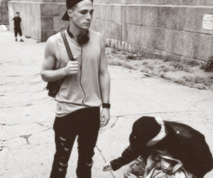 back and white, skate, and colton haynes image