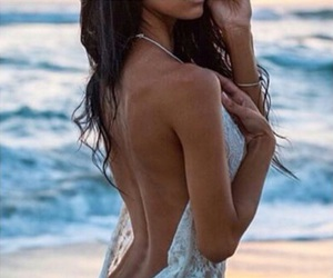 back, beach, and brunette image