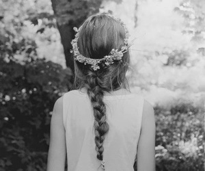 hair style, adorable, and black and white image