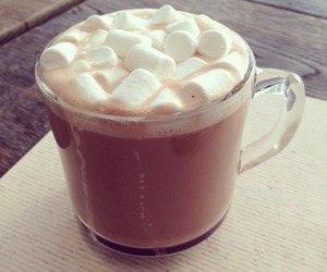 food, hot chocolate, and marshmallows image